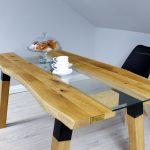 Stół z Litego Drewna Naturalnego z Metalowymi Elementami